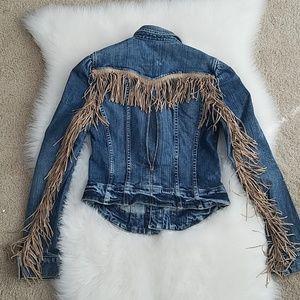 Bebe fringe denim jacket